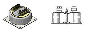 Трансформатор на квадратном основании и чашкой с клеммными колодками