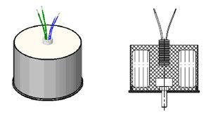 Трансформатор залитый с центральным болтом снизу и выводами пучком по центру
