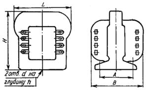 сердечниках ШЛ, конструкция - с наименьшей массой, исполнение В