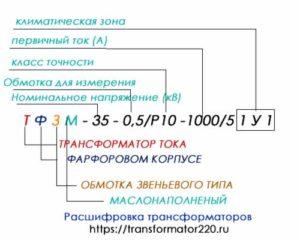 расшифровка трансформаторов