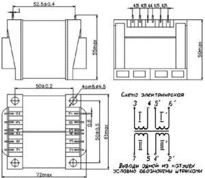 абаритные размеры и электрическая схема трансформаторов ТПК-40