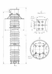 Габаритные и установочные размеры трансформатора напряжения НКФ-М-330-А У1