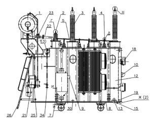 Вид спереди ТРДН-25000/110