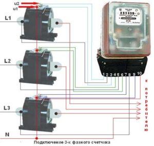 подключение трехфазного счетчика через измерительные трансформаторы
