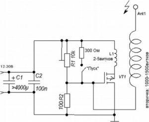 трансформатор тесла схема