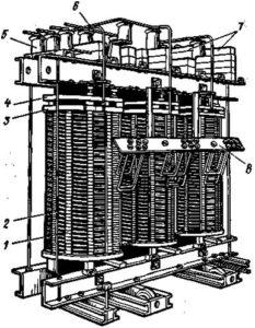 Сухой трансформатор мощностью 320 кВ без кожуха
