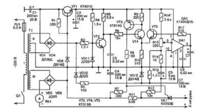 Регулируемый стабилизатор тока для зарядного авто (16В 7А)