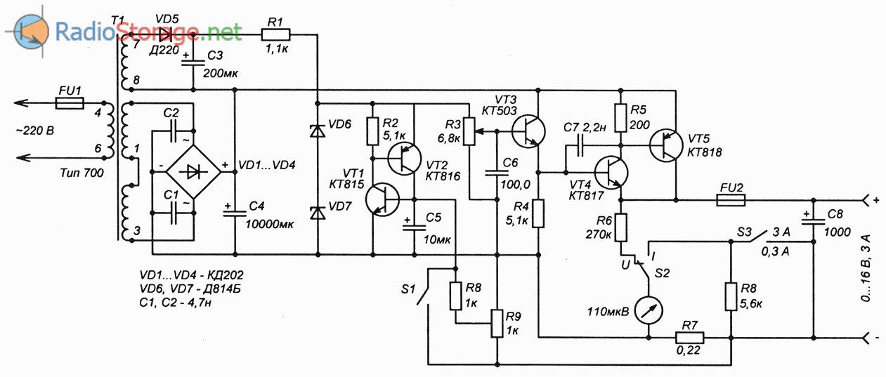 Самодельный блок питания на транзисторах (0-16В, 3А)