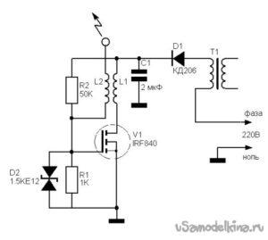 Схема трансформатора тесла на полевом транзисторе