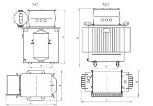 Масса и габаритные размеры трансформаторов серии ТМЭ
