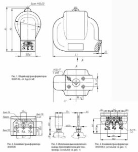 Общий вид трансформаторов ЗНОЛ.06-3(-24) и ЗНОЛ.06.4-6(-20) и ЗНОЛ.06М-15(-24)