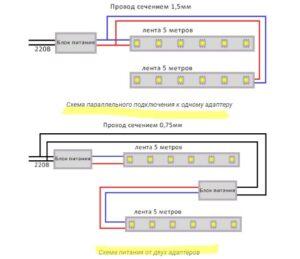 подключить 10 метров диодов LSR-3528B60-4.8